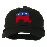 Republican Elephant USA Embroidered Pet Spun Cap - Black
