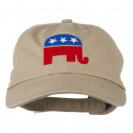 Republican Elephant USA Embroidered Pet Spun Cap - Khaki