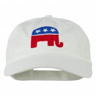 Republican Elephant USA Embroidered Pet Spun Cap - White
