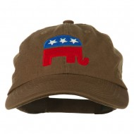 Republican Elephant USA Embroidered Pet Spun Cap - Brown