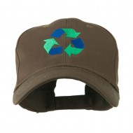 Environment Friendly Recycle Logo Embroidered Cap - Brown