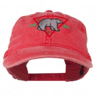 Black Bear Embroidered Washed Cap - Red