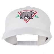 Black Bear Embroidered Washed Cap - White