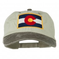 Colorado Flag Embroidered Two Tone Cap - Beige Brown
