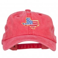 USA Flag Texas Map Embroidered Washed Buckle Cap - Red