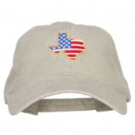 USA Flag Texas Map Embroidered Washed Buckle Cap - Stone