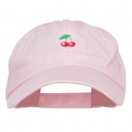 Mini Cherry Embroidered Low Cap - Pink