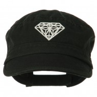 Diamond Embroidered Enzyme Army Cap - Black