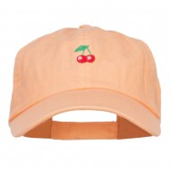 Mini Cherry Embroidered Low Cap - Peach