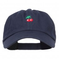 Mini Cherry Embroidered Low Cap - Navy