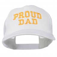 Proud Dad Letters Embroidered Youth Mesh Cap - White