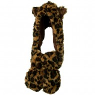 Furry Animal Hat with Paws - Leopard