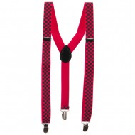 Four Block Checker Suspenders - Pink