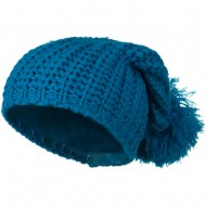 Fall Back Pom Pom Knit Hat - Turquoise
