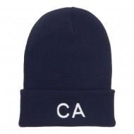 CA California Embroidered Cuff Beanie - Navy
