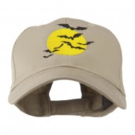 Flying Bats with Moon Embroidered Cap - Khaki