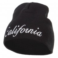 California Embroidered Short Beanie - Black