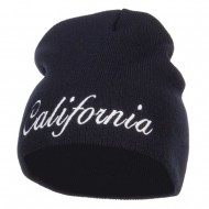 California Embroidered Short Beanie - Navy
