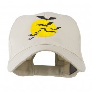 Flying Bats with Moon Embroidered Cap - Stone