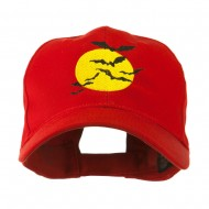 Flying Bats with Moon Embroidered Cap - Red