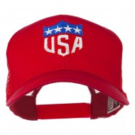USA Flag Badge Embroidered Mesh Back Cap - Red