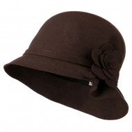 Wool Felt Crushable Hat with Flower - Brown