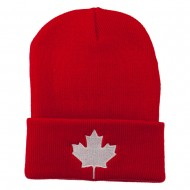 Canada Maple Leaf Embroidered Long Beanie - Red