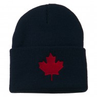 Canada Maple Leaf Embroidered Long Beanie - Navy