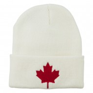 Canada Maple Leaf Embroidered Long Beanie - White