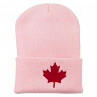 Canada Maple Leaf Embroidered Long Beanie - Pink
