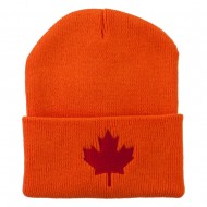 Canada Maple Leaf Embroidered Long Beanie - Orange