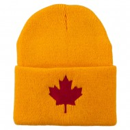 Canada Maple Leaf Embroidered Long Beanie - Yellow