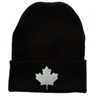 Canada Maple Leaf Embroidered Long Beanie - Black White