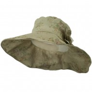 Floral Design Woman's Hat - Light Grey