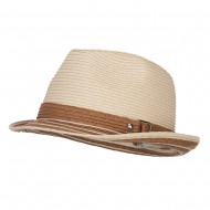 Buckle Band Paper Braid Fedora - Natural