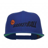 Fading Basketball Embroidered Snapback Cap - Royal