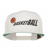 Fading Basketball Embroidered Snapback Cap - Natural