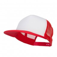 Flat Bill Trucker Snapback Cap - White Red