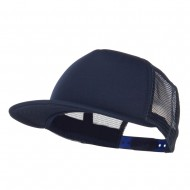 Flat Bill Trucker Snapback Cap - Navy