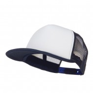 Flat Bill Trucker Snapback Cap - White Navy