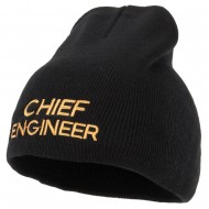Chief Engineer Embroidered 8 Inch Knitted Short Beanie - Black