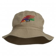 Fly Fishing Embroidered Pigment Dyed Bucket Hat - Khaki