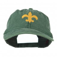 Fleur De Lis with Outline Embroidered Cap - Dark Green
