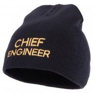 Chief Engineer Embroidered 8 Inch Knitted Short Beanie - Navy