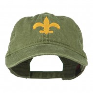 Fleur De Lis with Outline Embroidered Cap - Olive