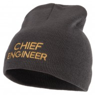 Chief Engineer Embroidered 8 Inch Knitted Short Beanie - Dk Grey