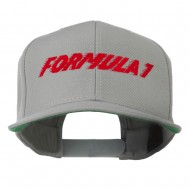 Formula 1 Embroidered Flat Bill Cap - Silver