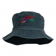 Fly Fishing Embroidered Pigment Dyed Bucket Hat - Navy