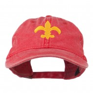 Fleur De Lis with Outline Embroidered Cap - Red
