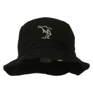 Fly Fishing Outline Bucket Hat - Black